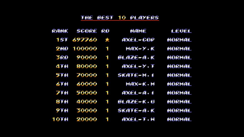 Streets of Rage Top Score