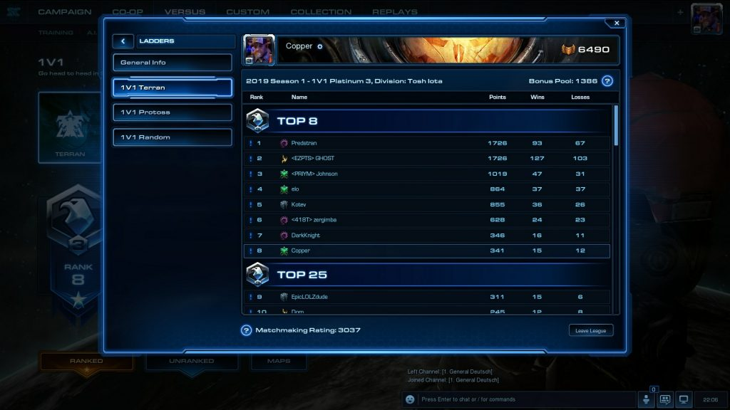 Terran Starcraft Ladder Games Played