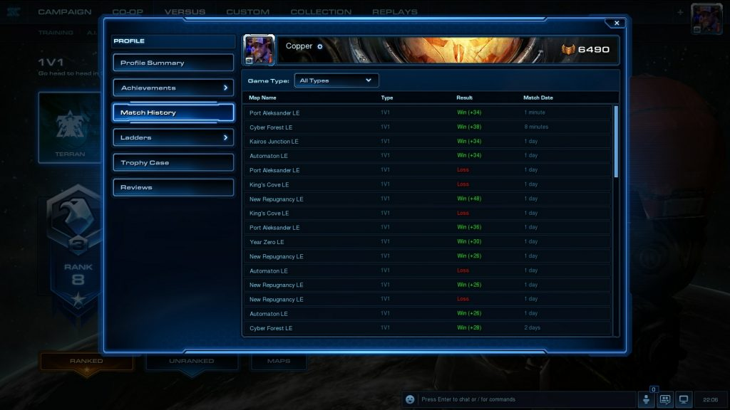 Terran Starcraft Ladder Games Win Rate