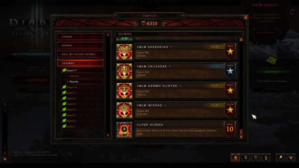 Diablo III Season 17 records