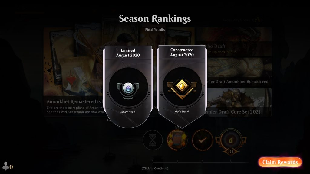 Magic: The Gathering Arena August 2020 Season Rankings