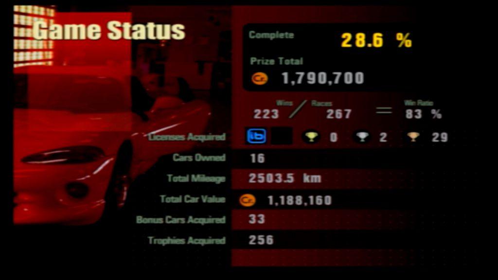Gran Turismo 3 Status Screen