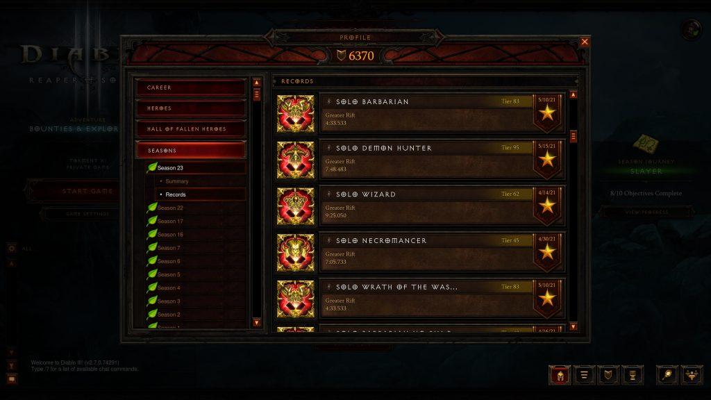 Diablo III Season 23 Records