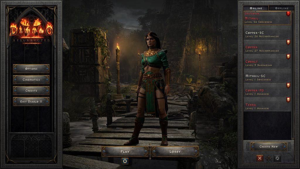 Diablo II Resurrected Level 56 Hardcore Sorceress Dead